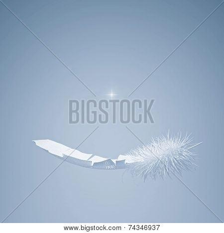 Flying White Feather And Star