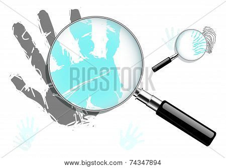 Magnified hand and finger prints