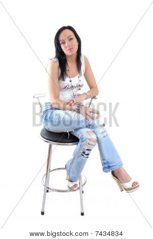 Pretty dark haired women and stool