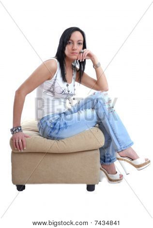 Young dark haired women relaxing