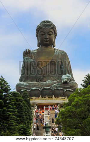HONG KONG , CHINA - AUG 12 :Tian Tan Buddha on August 12, 2014. Tian Tan Buddha is a large bronze statue of a Buddha Amoghasiddhi, completed in 1993,  located at Ngong Ping, Lantau Island,  Hong Kong