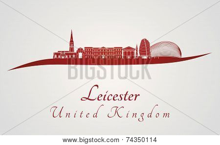 Leicester Skyline In Red
