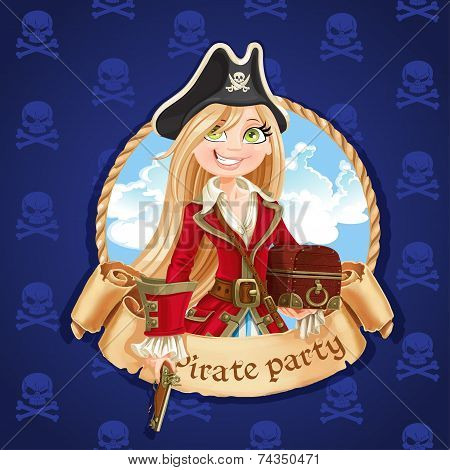 Cute pirate girl with treasure chest