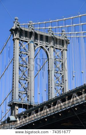 Manhattan Bridge on a clear blue day, New York City