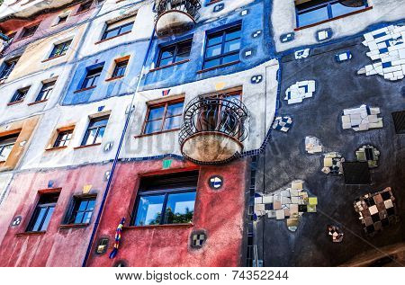 VIENNA, AUSTRIA-July 3 : view of Hundertwasser house on July 3, 2014. Beautiful Hundertwasser house in Vienna, Austria, Europe