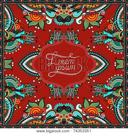 decorative pattern of ukrainian ethnic carpet design