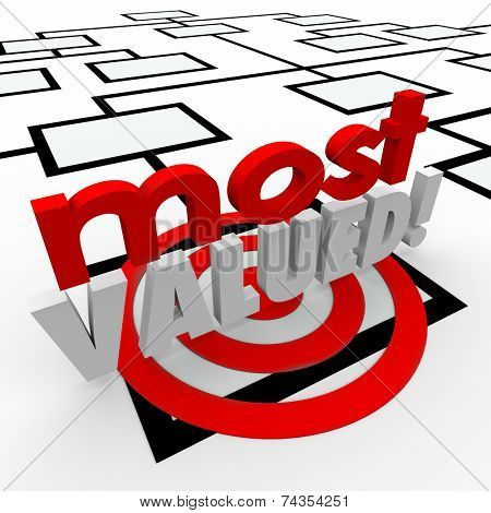 Most Valued 3d words on an organization chart to target the best employee or hardest worker in the company or group