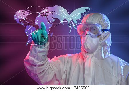 Scientist in Hazmat suit and protective gear pointing at origin of Ebola virus