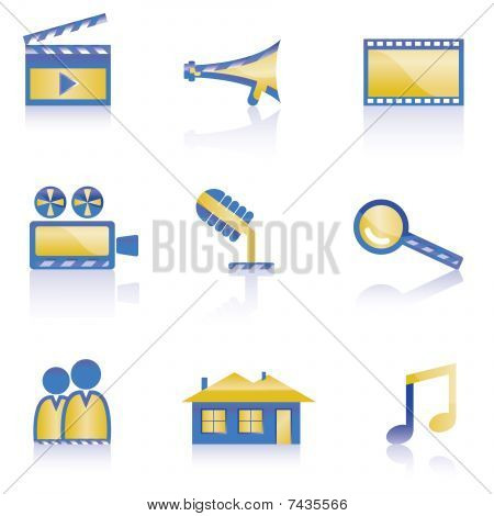 movie, clip and cinema icons