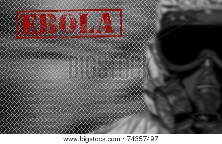 Red Word Ebola On Black And White Background.