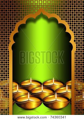 Diwali Oil Lamps Overgreen  Background