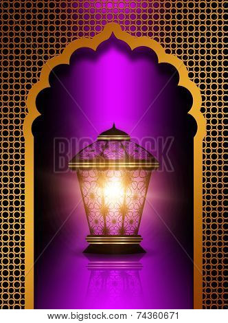 Shiny Diwali Lantern Over Violet  Background