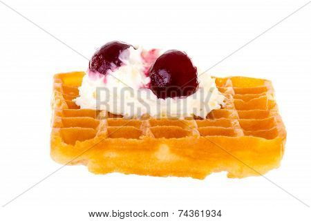 Cherries And Whipped Cream On Freshly Baked Waffle Brightened