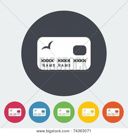 Credit card single flat icon.