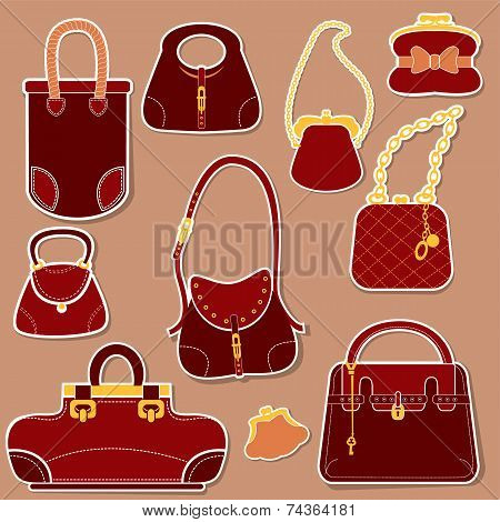 Set Of Woman Bags And Handbags.