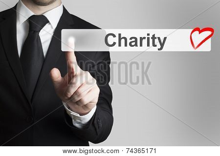 Businessman Pushing Flat Button Charity Heart