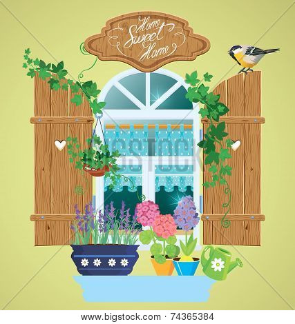 Window And Flowers In Pots, Tomtit Bird And Handwritten Text Home, Sweet Home. Summer Or Spring Seas