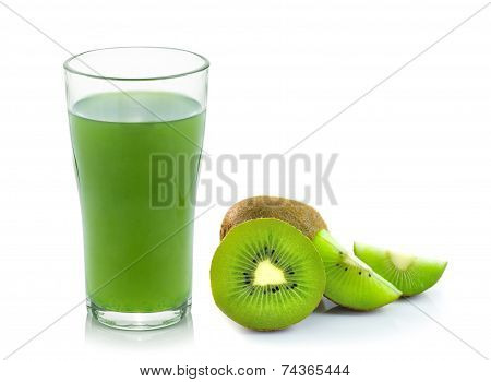 Kiwi Fruit Juice Isolated On White Background