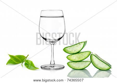 Green Aloe Vera ,glass Of Water And Tea Isolated On White Background