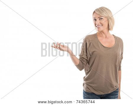 Pretty isolated older woman presenting with hand over white.