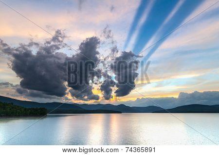 Sunset at the Ashokan Reservoir, NYC water supply.