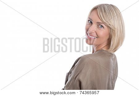 Beautiful isolated blond mature woman over white background.