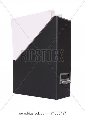Empty paper in magazine grain box on white background.