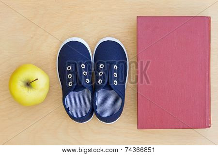 Book, Apple, Sneakers