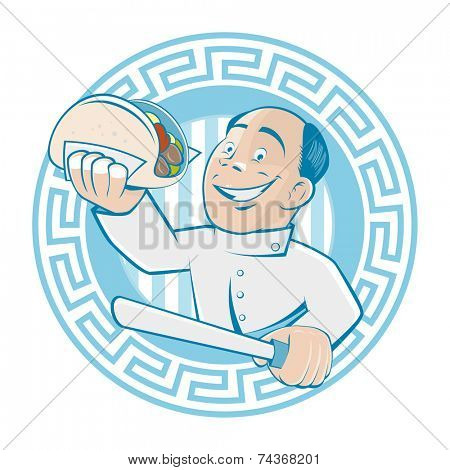 greek man is serving gyros or doner