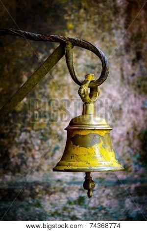 Yellow bell in a temple in Kathmandu, Nepal