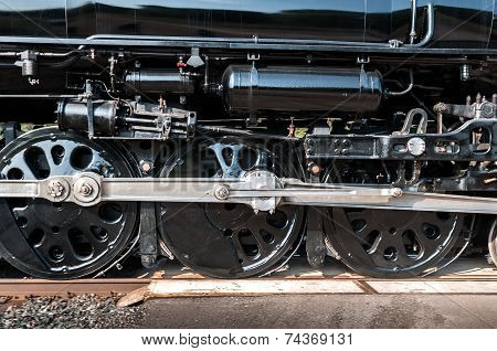 Wheels Of Vintage Steam Engine Move By