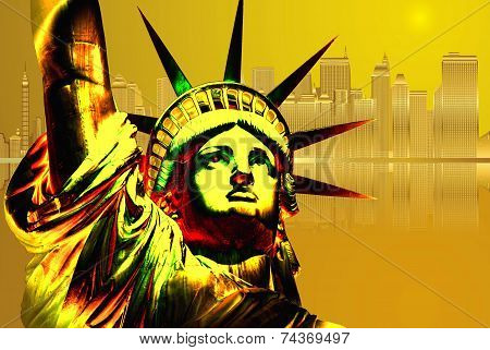 Golden Statue of Liberty and golden New York