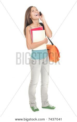 Woman University Student Standing Isolated In Full Length