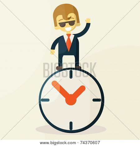 Businessman  with time, business concept in busy and hard working.