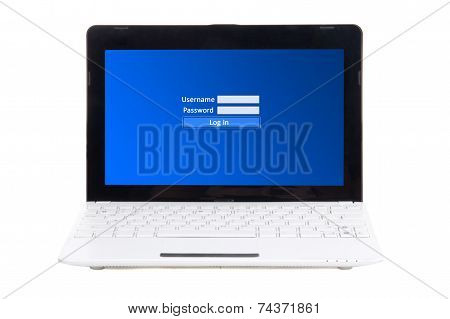 Little Laptop With Login And Password Panel On Screen Isolated On White
