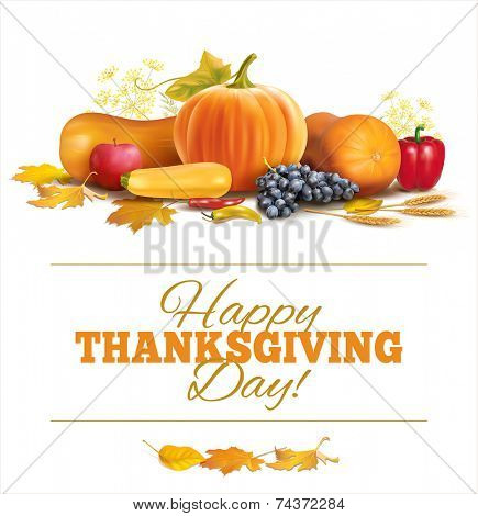 Happy Thanksgiving composition on white. Vector eps 10.