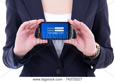 Mobile Phone With Login Panel On Screen In Female Hands