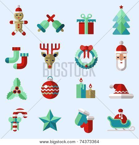 Christmas icons set color