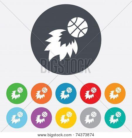 Basketball fireball sign icon. Sport symbol.