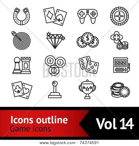 Game Outline Icons Set