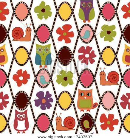 Abstract Floral and Owl Pattern