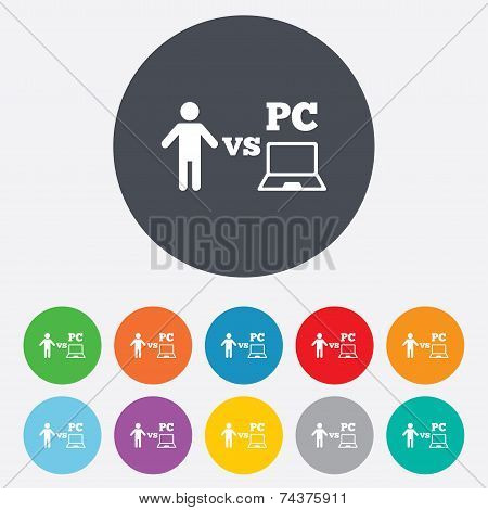 Player vs PC sign icon. Games symbol.