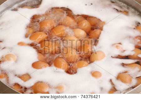 Eggs Boiled With Water In The Pot