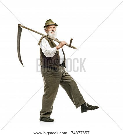 Old man with scythe isolated
