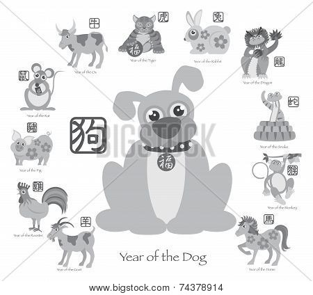 Chinese New Year Dog With Twelve Zodiacs Illustration