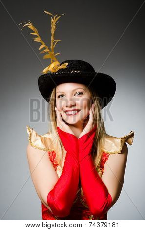 Pirate woman with feathered hat