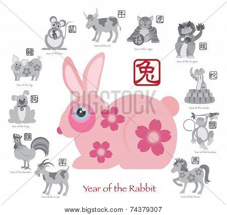 Chinese New Year Rabbit Color With Twelve Zodiacs Illustration