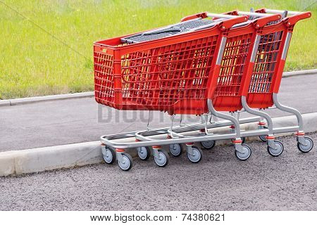 Red Baskets-carts For Food And Household Goods