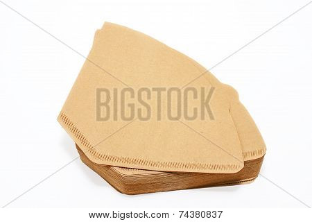 Coffee Filters On A White Background