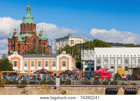 Helsinki Quay With Orthodox Uspenski Cathedral